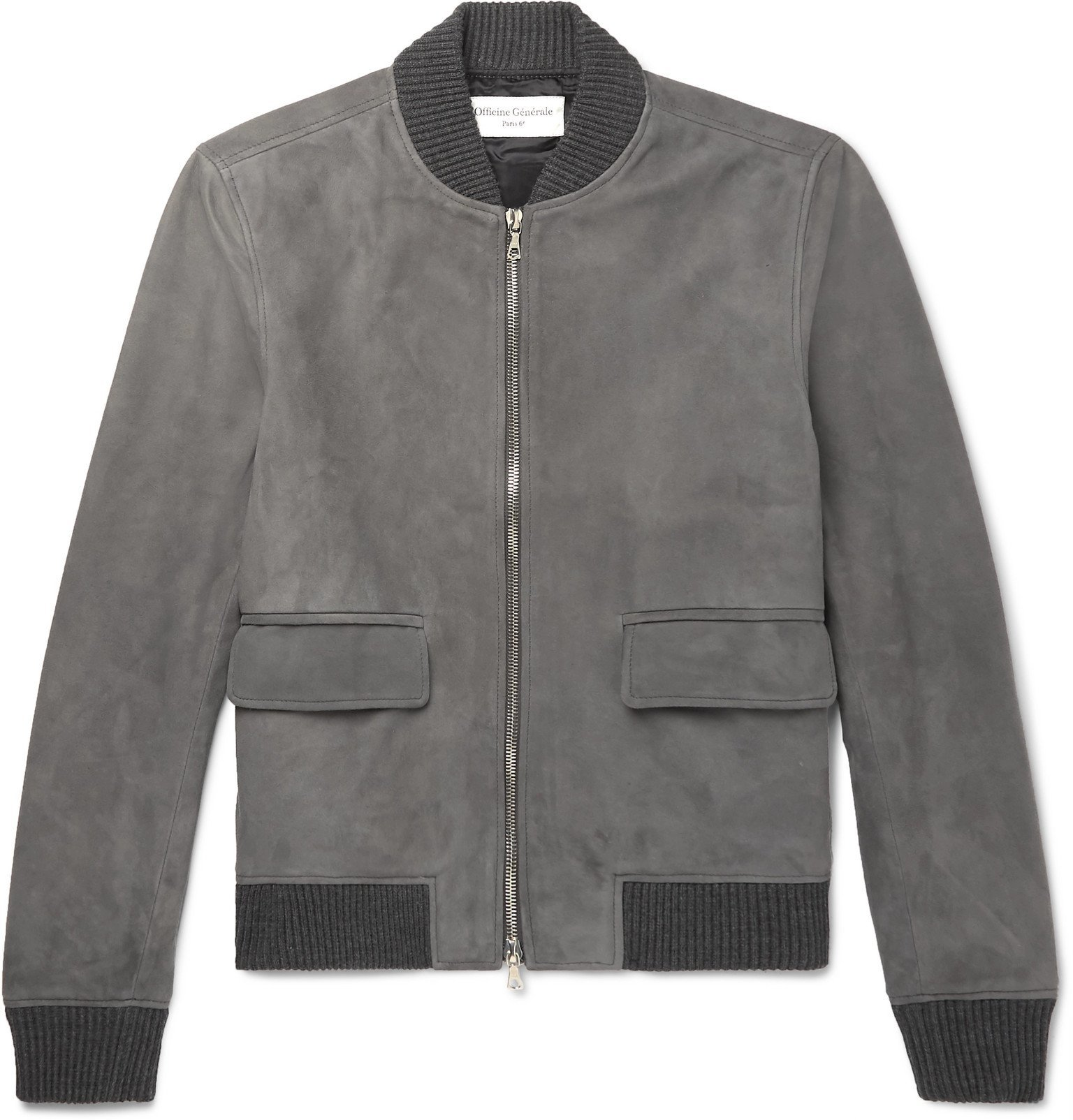 Photo: Officine Generale - Floyd Slim-Fit Suede Bomber Jacket - Gray