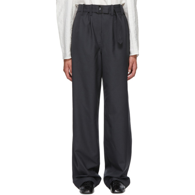 Photo: Lemaire Grey Wool Belted Loose Trousers