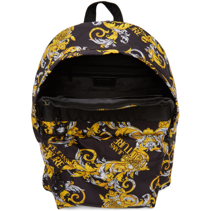 Versace Jeans Couture Black and Gold Barocco Logo Backpack