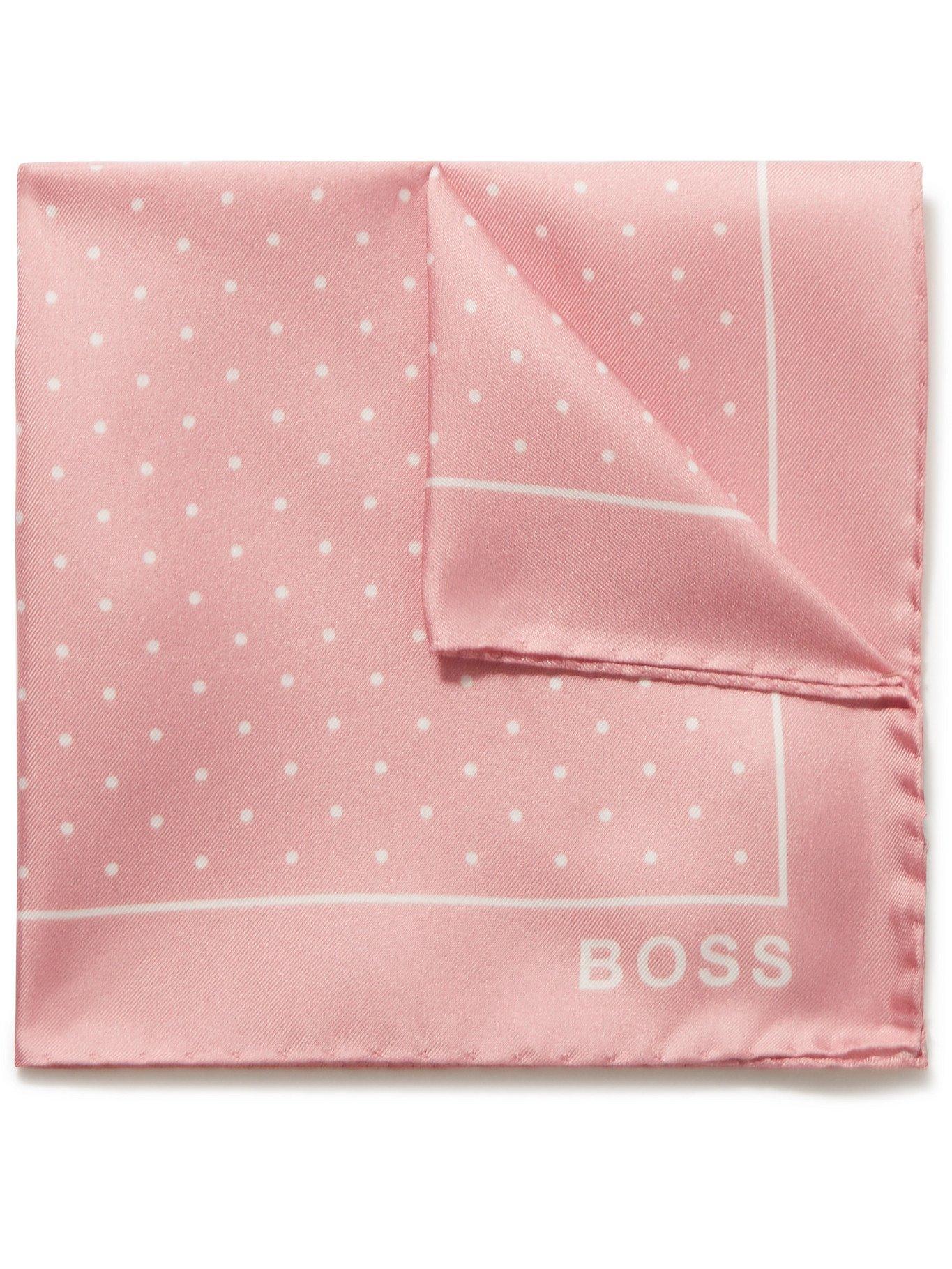Photo: HUGO BOSS - Polka-Dot Silk-Twill Pocket Square - Pink