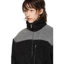GmbH Black and Grey Teddy Fleece Kol Zip-Up Sweater