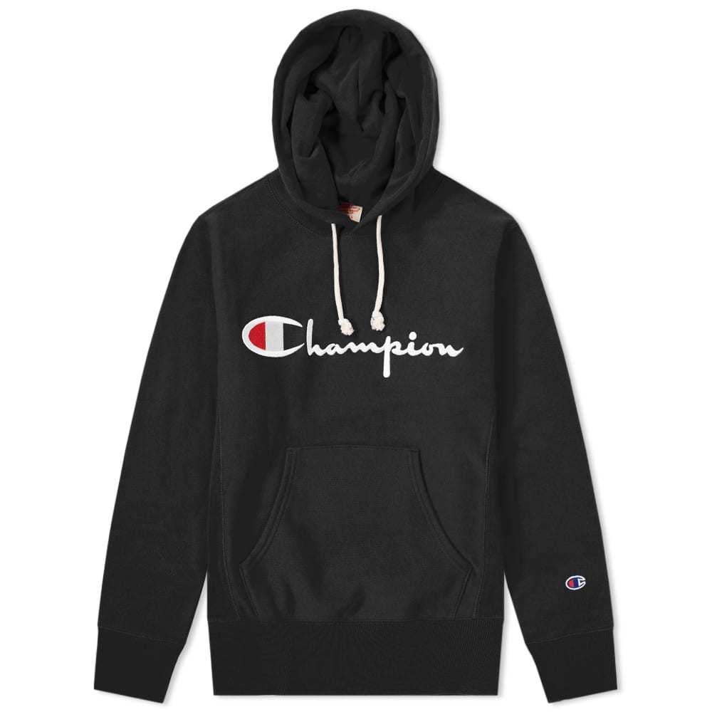 Photo: Champion Reverse Weave Script Logo Hoody