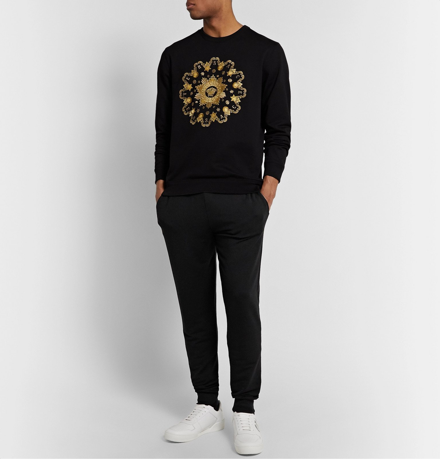 Versace - Slim-Fit Tapered Stretch-Modal Tapered Sweatpants - Black