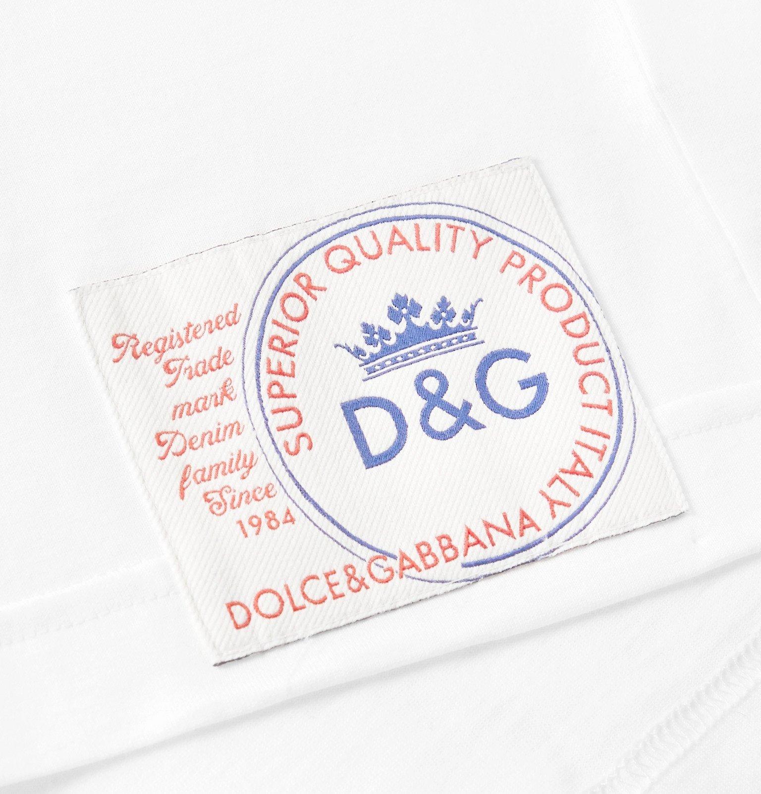 Dolce & Gabbana - Slim-Fit Logo-Appliquéd Cotton-Jersey T-Shirt - White