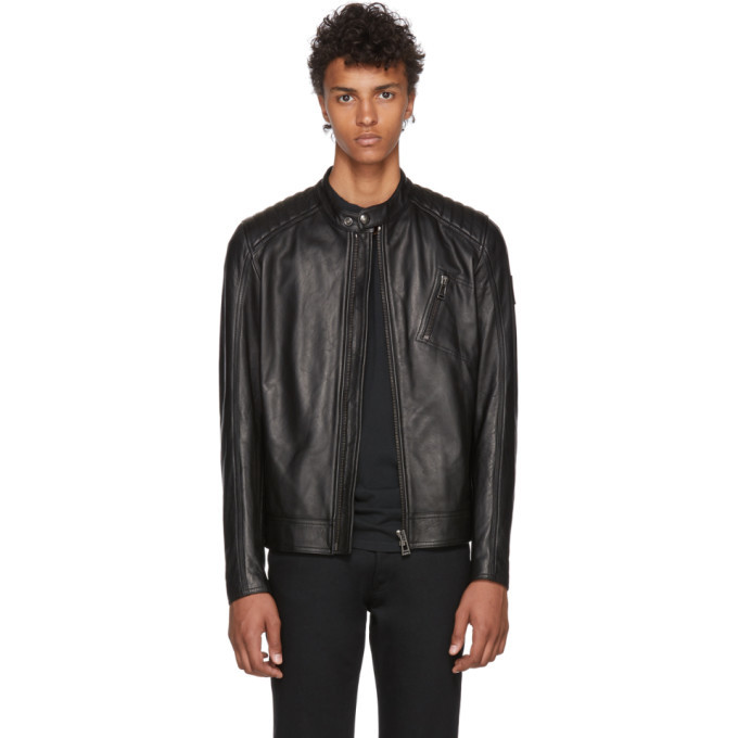 Photo: Belstaff Black Leather V-Racer Jacket