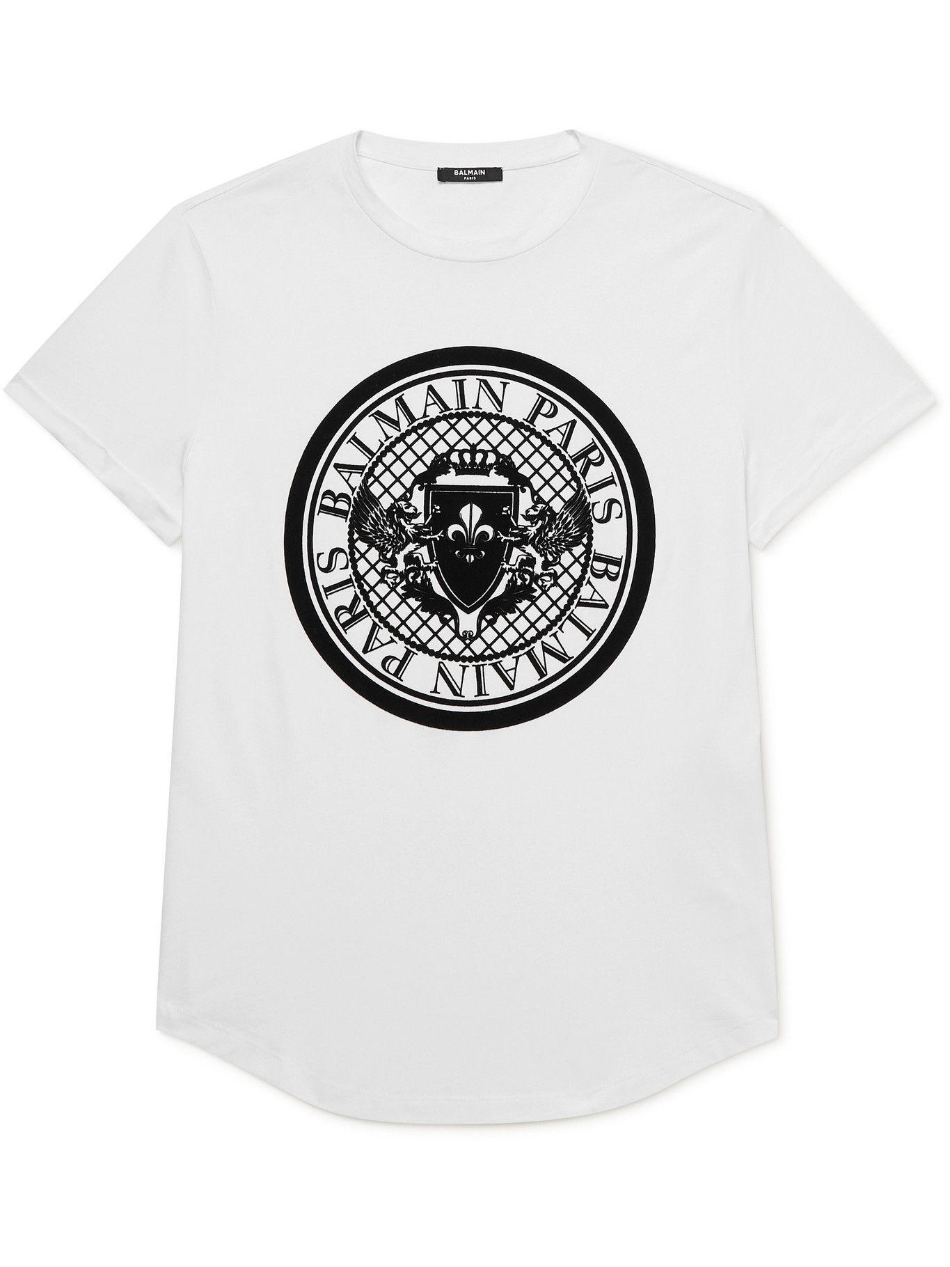 BALMAIN - Logo-Flocked Cotton-Jersey T-Shirt - White