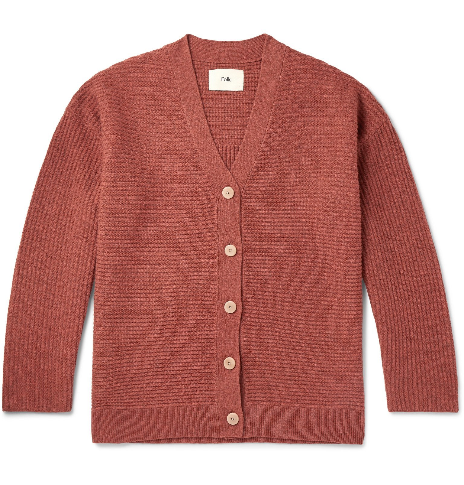 Photo: Folk - Signal Ribbed Wool Cardigan - Orange