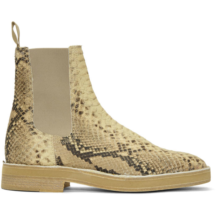 Photo: YEEZY Beige Faux-Python Chelsea Boots
