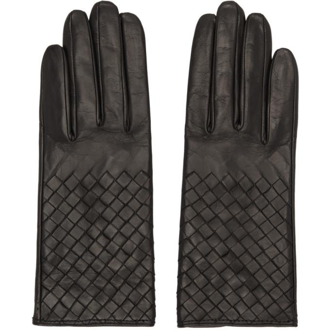 Photo: Bottega Veneta Black Leather Intrecciato Gloves