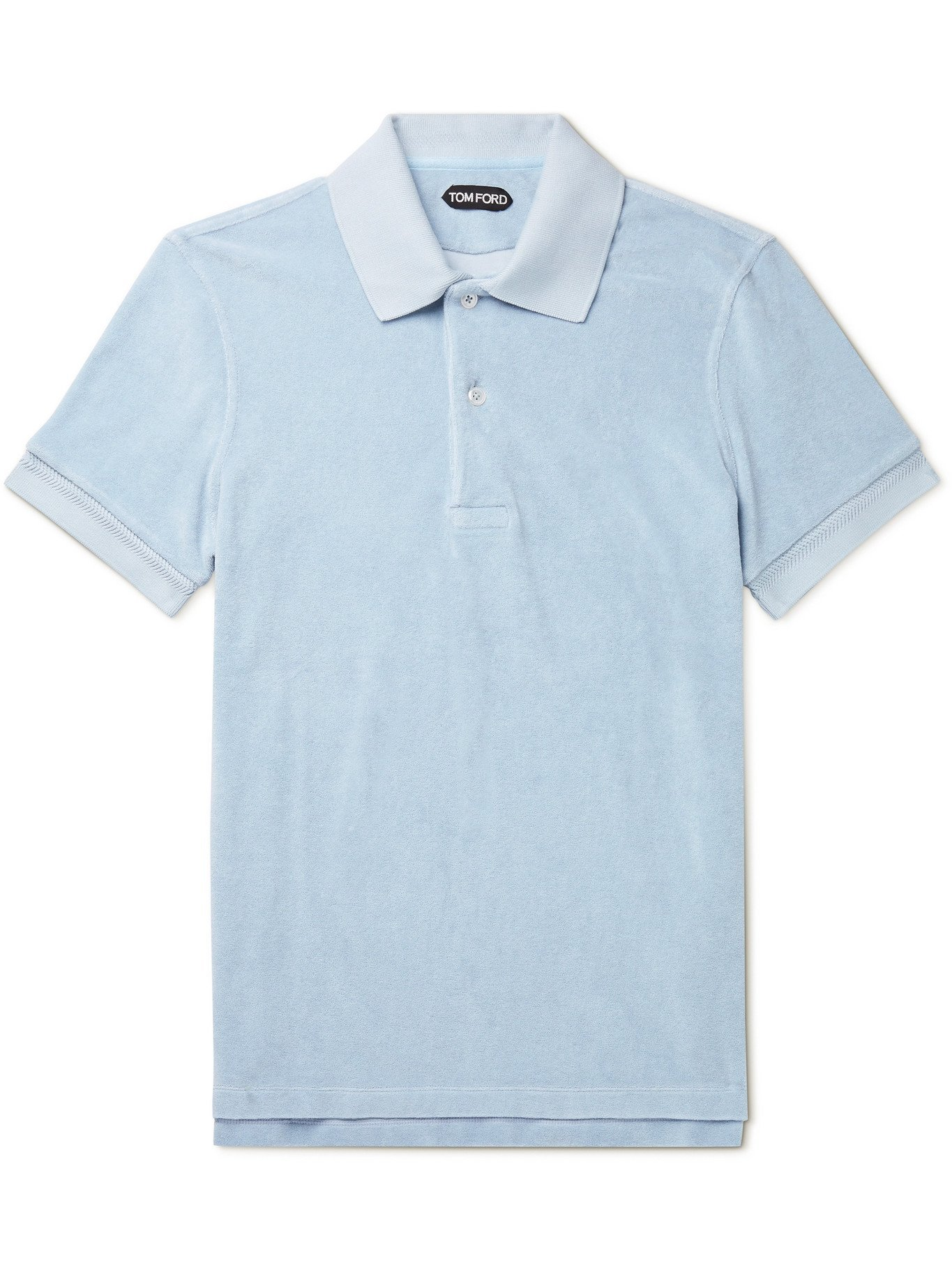 Photo: TOM FORD - Cotton-Blend Terry Polo Shirt - Blue - IT 50