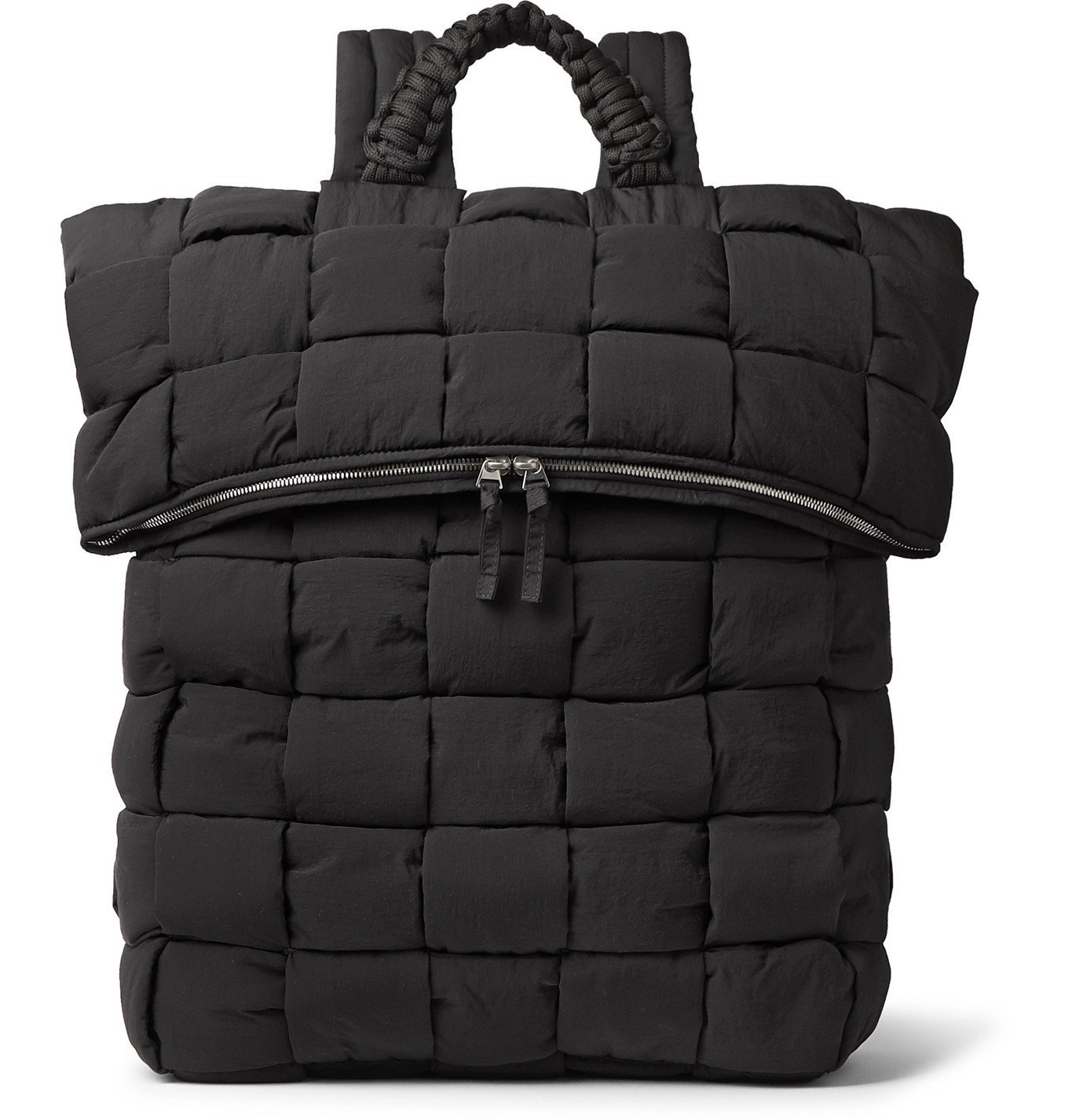 Photo: Bottega Veneta - Intrecciato Padded Quilted Nylon Backpack - Black
