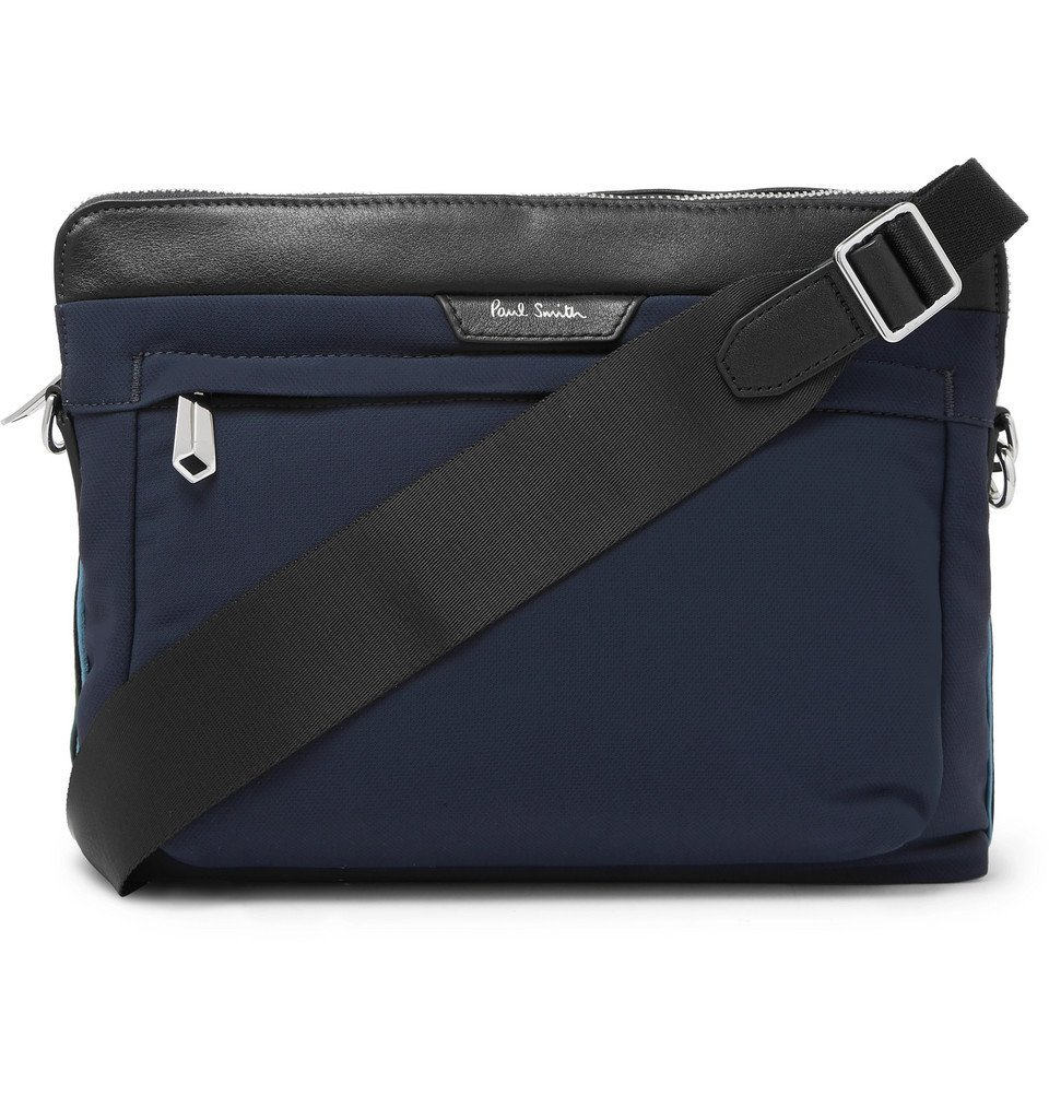 Photo: Paul Smith - Leather-Trimmed Canvas Messenger Bag - Navy