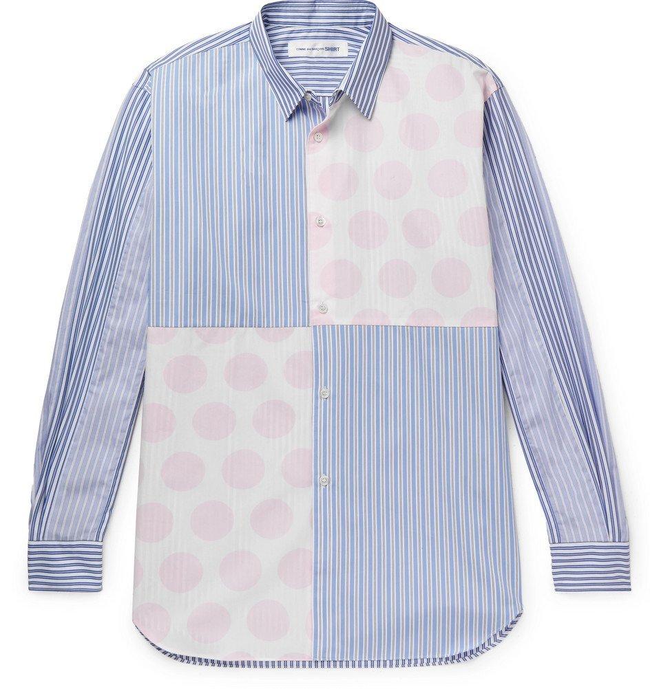 Photo: Comme des Garçons SHIRT - Panelled Printed Cotton-Poplin Shirt - Blue