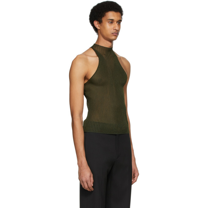 Dion Lee Khaki Corrugated Tank Top