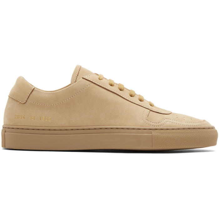 Common Projects Tan Nubuck BBall Low Sneakers