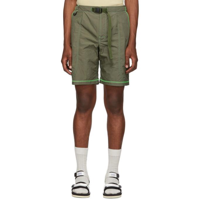 Photo: John Elliott Khaki High Shrunk Nylon Mountain Shorts