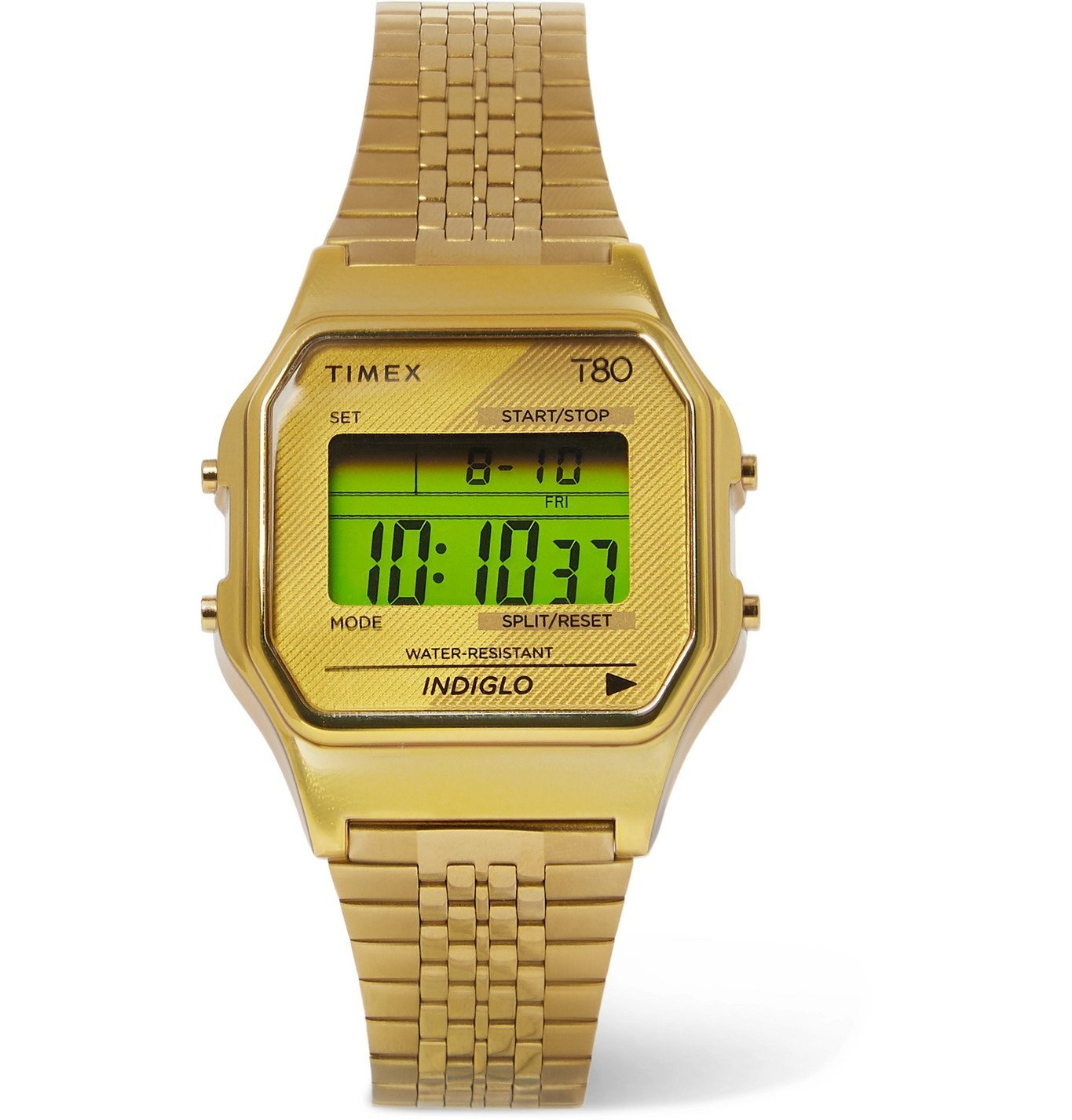 Photo: Timex - T80 34mm Gold-Tone Digital Watch - Gold