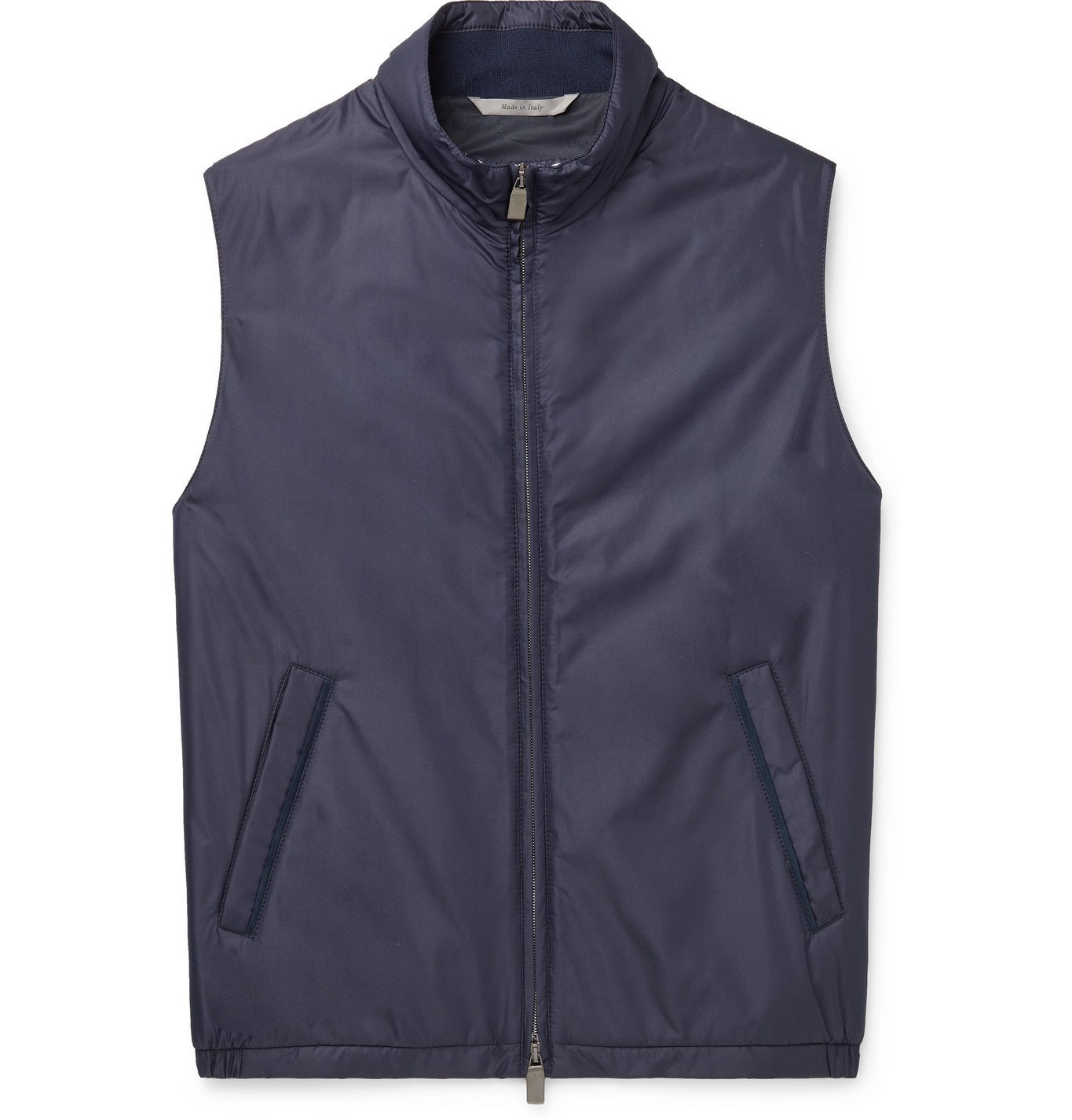 Photo: CANALI - Suede-Trimmed Padded Shell Gilet - Blue