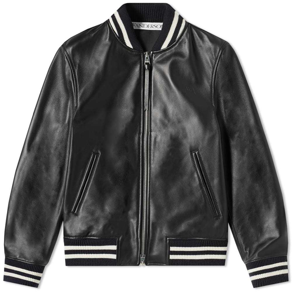 Photo: JW Anderson High Shine Leather Ribbed Jacket Black
