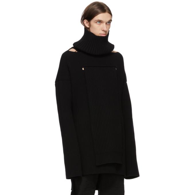 Bottega Veneta Black Convertible Wool Hydro Turtleneck