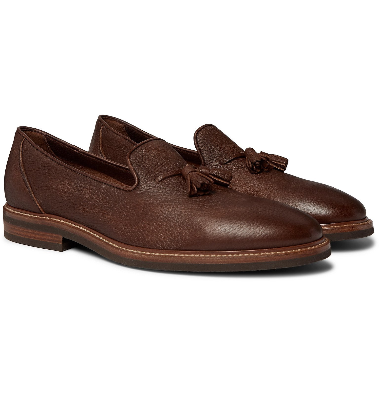 Photo: Brunello Cucinelli - Full-Grain Leather Tasselled Loafers - Brown