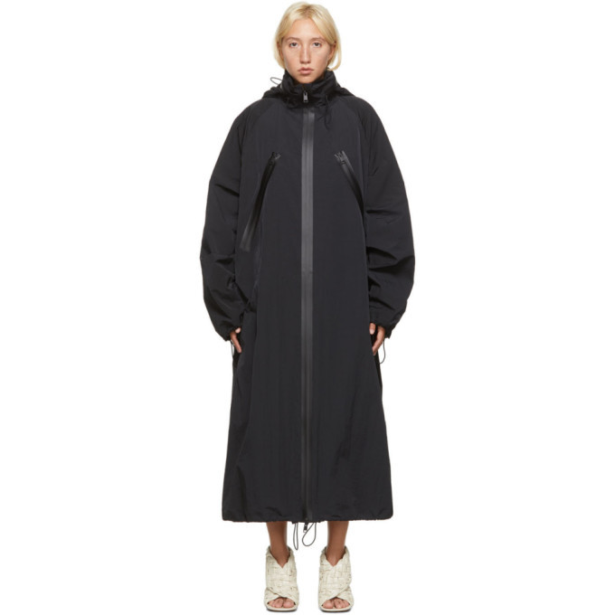 Photo: Bottega Veneta Black Nylon Long Coat