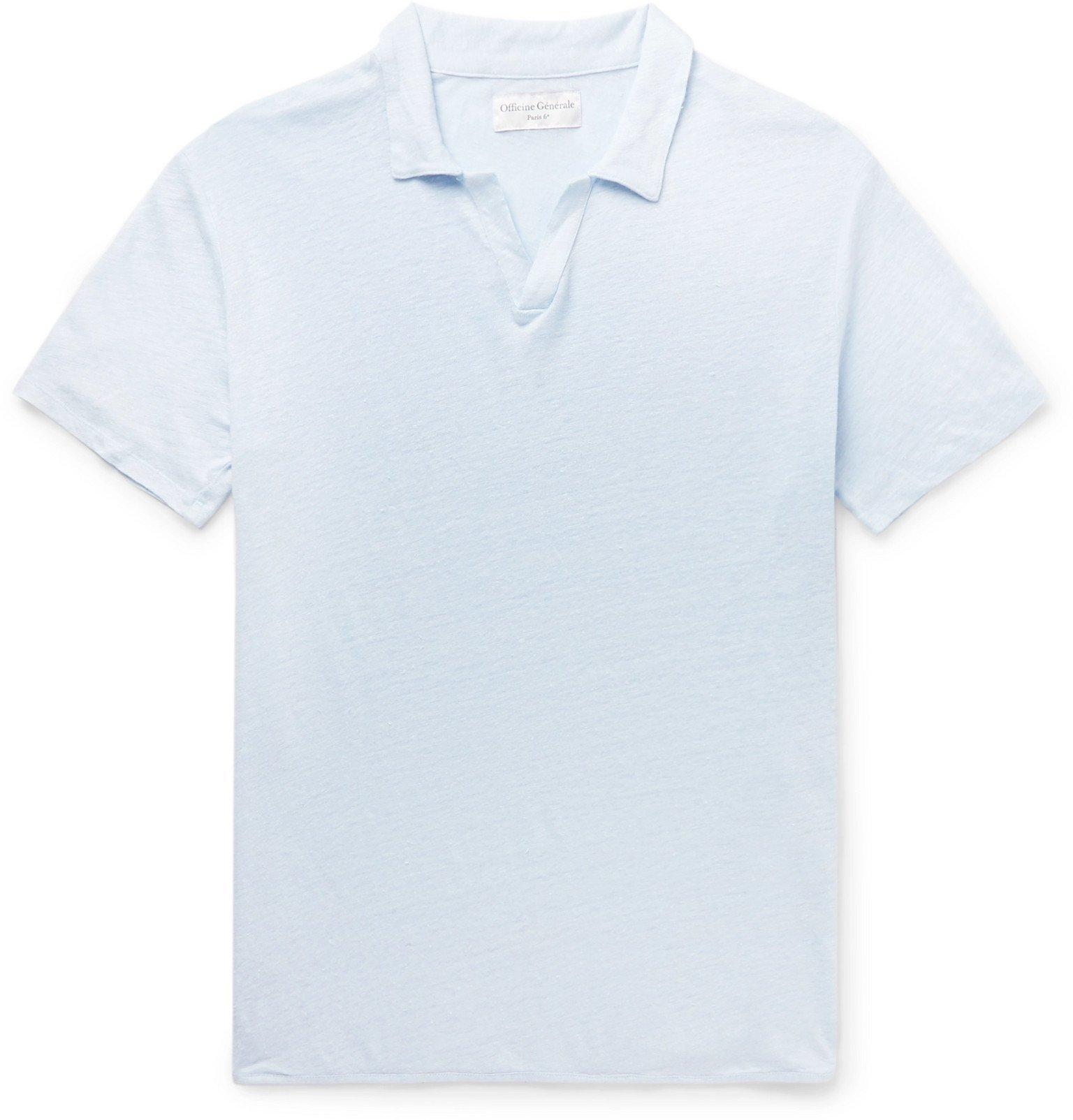 Photo: Officine Generale - Simon Slim-Fit Garment-Dyed Linen Polo Shirt - Blue