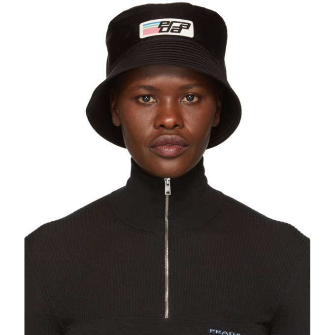 Prada Black Nylon Logo Bucket Hat Prada ee29d494c3d