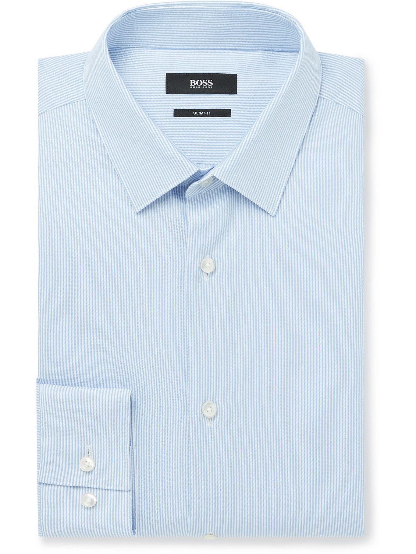 HUGO BOSS - Slim-Fit Pinstriped Cotton and TENCEL Lyocell-Blend Shirt - Blue