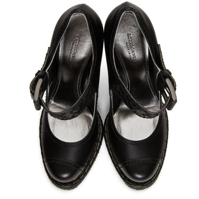 Bottega Veneta Black Satin Wedge Sandals