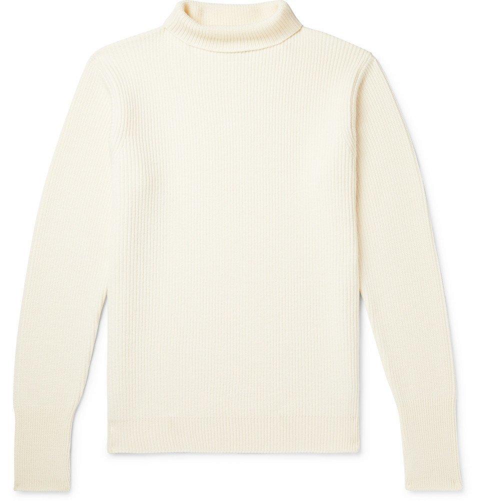 Photo: Barena - Slim-Fit Ribbed Virgin Wool Rollneck Sweater - Cream