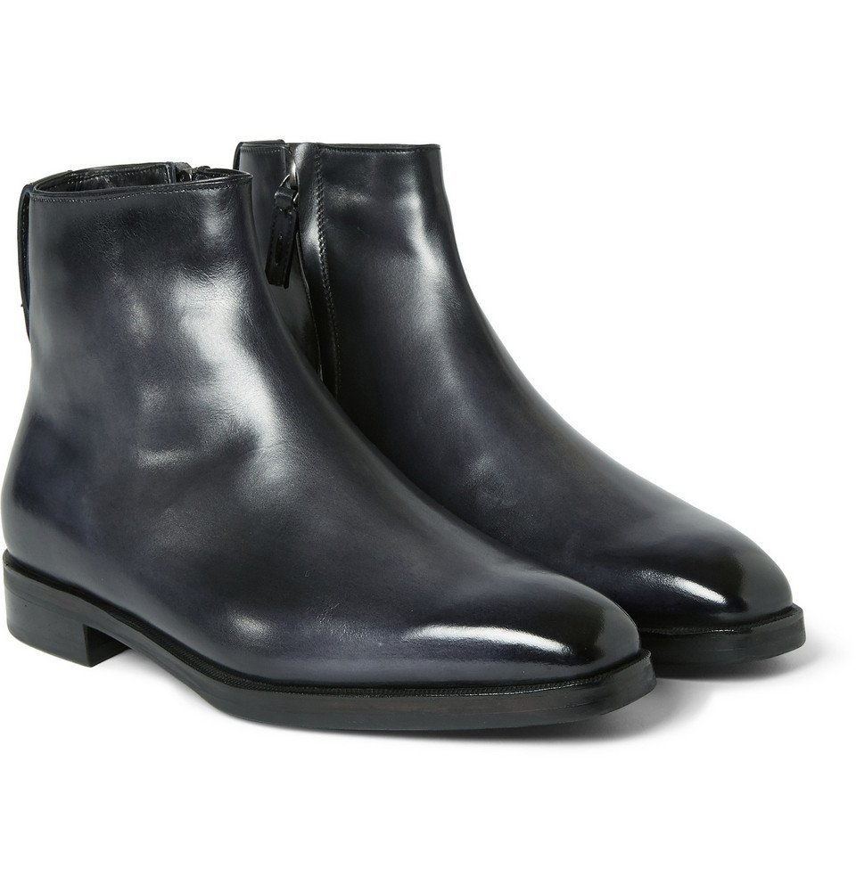 Photo: Berluti - Shearling-Lined Leather Boots - Men - Black