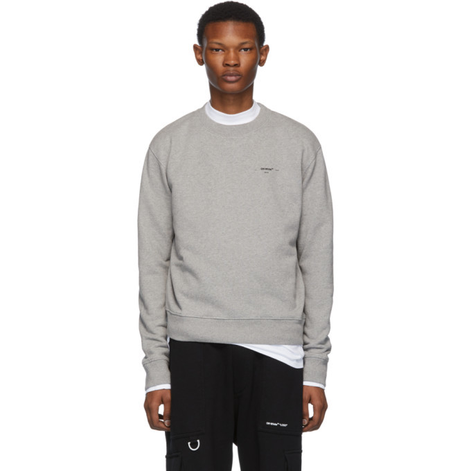 Photo: Off-White Grey and Black Logo Slim Sweatshirt