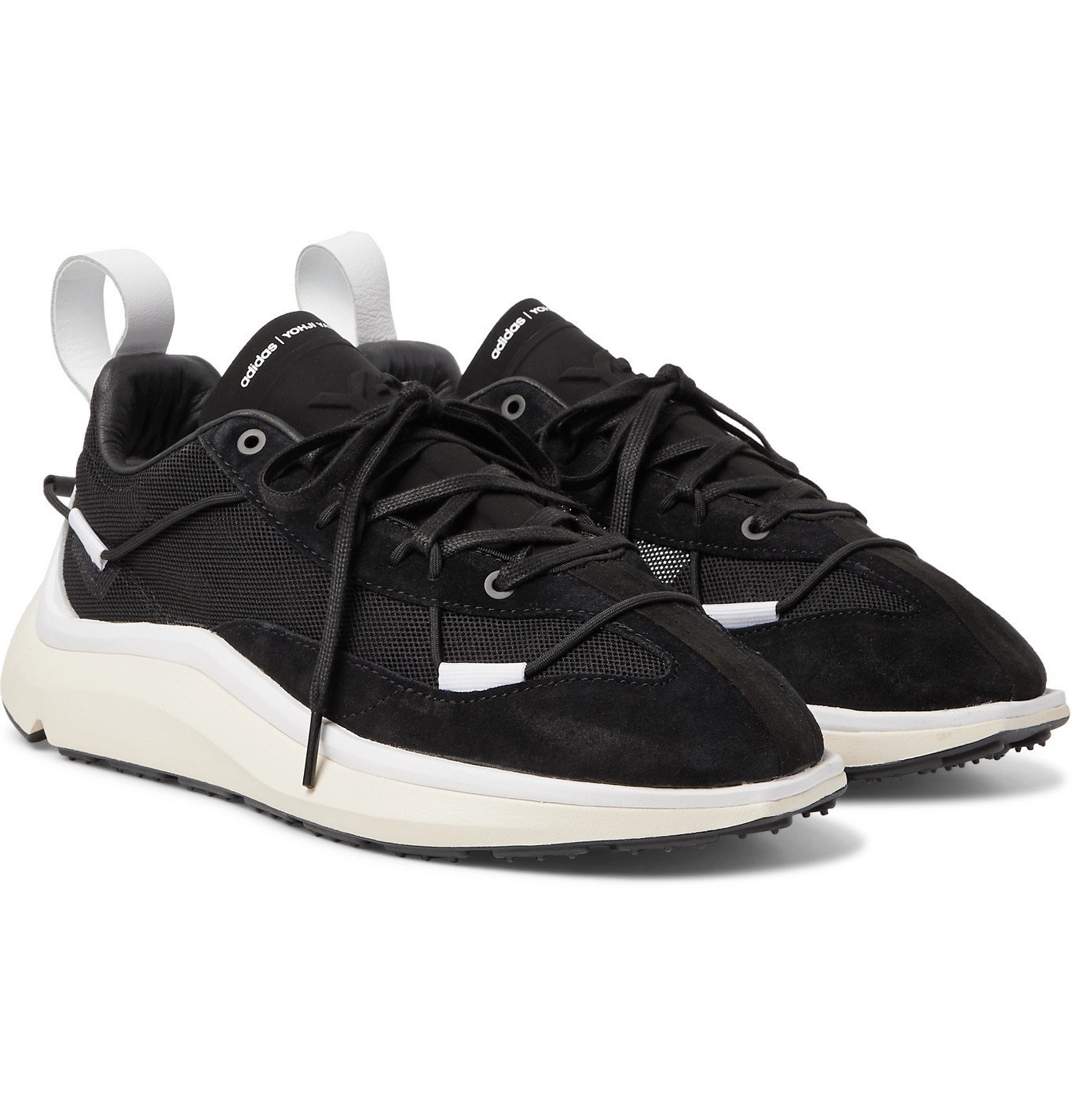 Photo: Y-3 - Shiku Run Leather and Suede-Trimmed Mesh Sneakers - Black