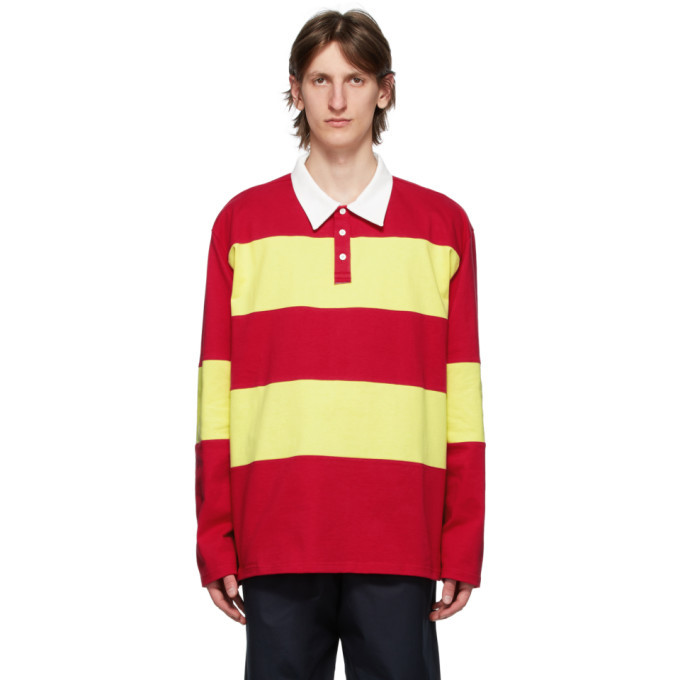 Photo: Camiel Fortgens Red and Yellow Striped Long Sleeve Polo