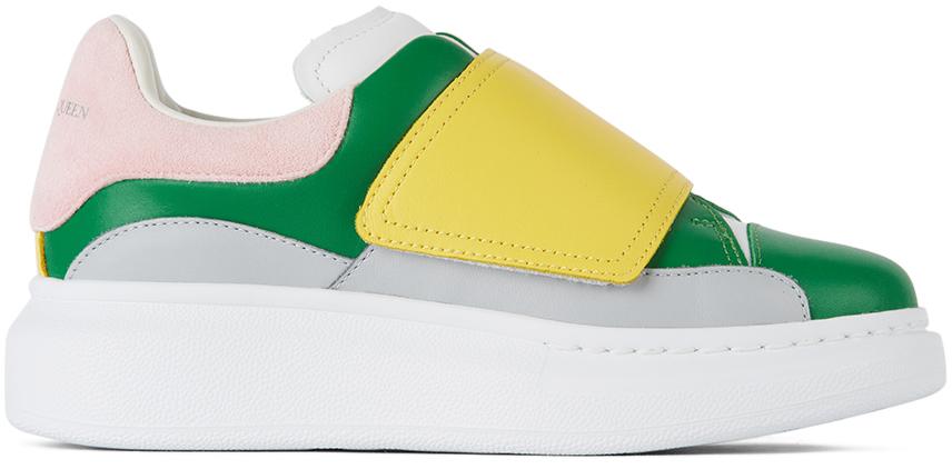 Photo: Alexander McQueen Kids Green & Yellow Velcro Molly Oversized Sneakers