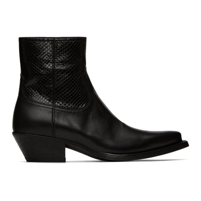 Photo: Saint Laurent Black Python Lukas Boots