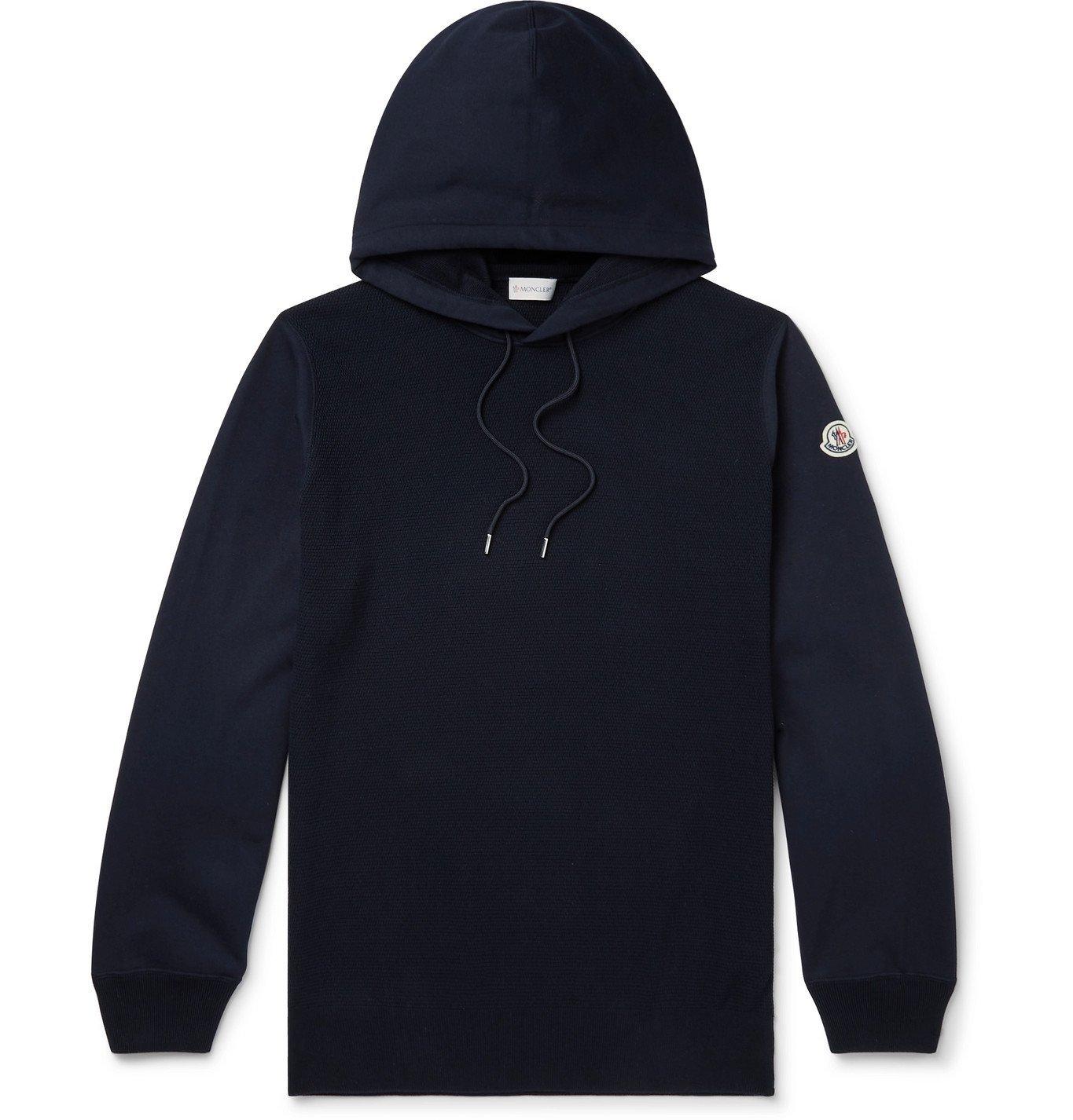 Photo: MONCLER - Logo-Appliquéd Panelled Fleece-Back Cotton-Jersey Hoodie - Blue