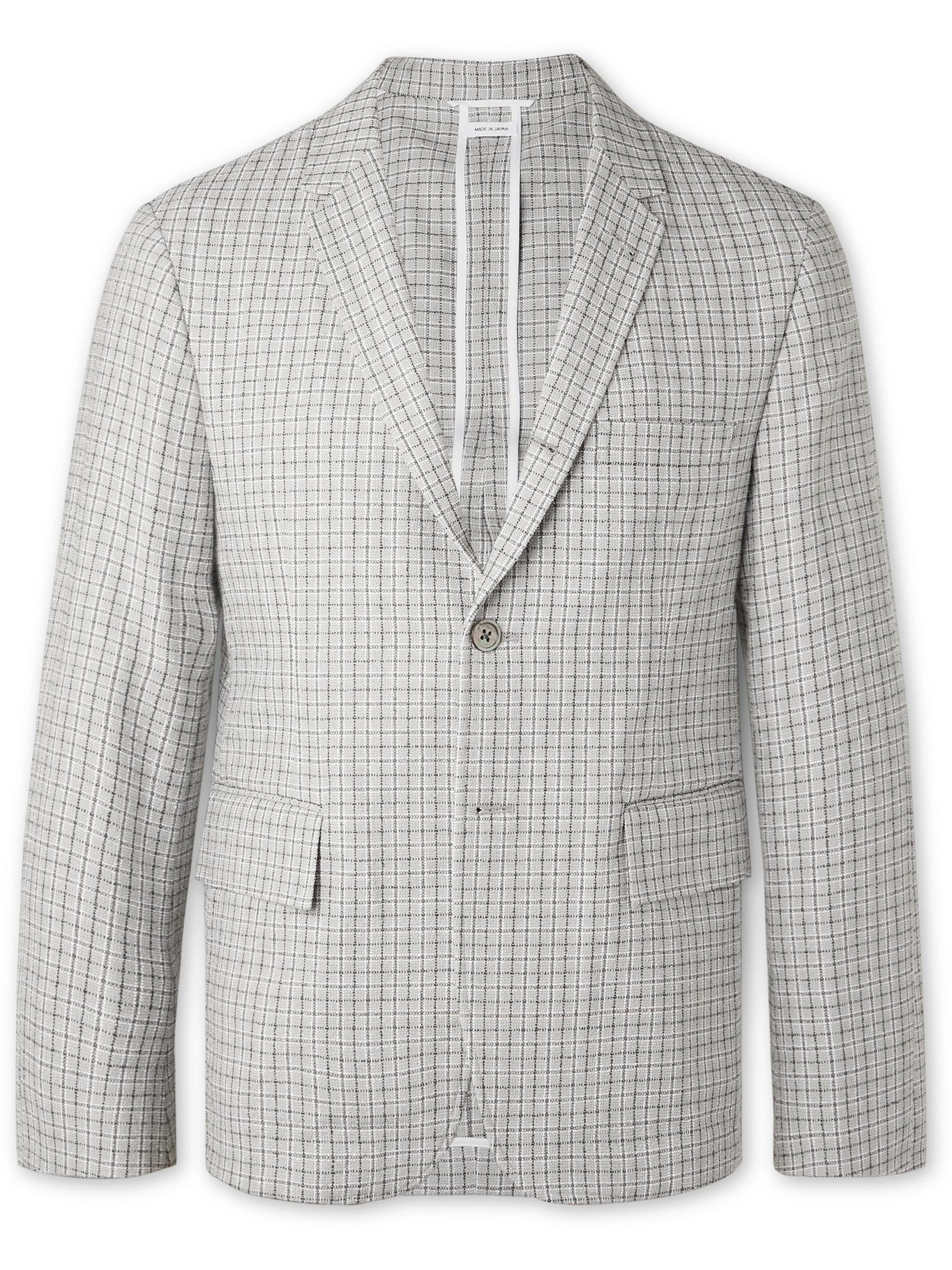 Photo: THOM BROWNE - Slim-Fit Unstructured Checked Cotton-Blend Bouclé Blazer - Gray - 1