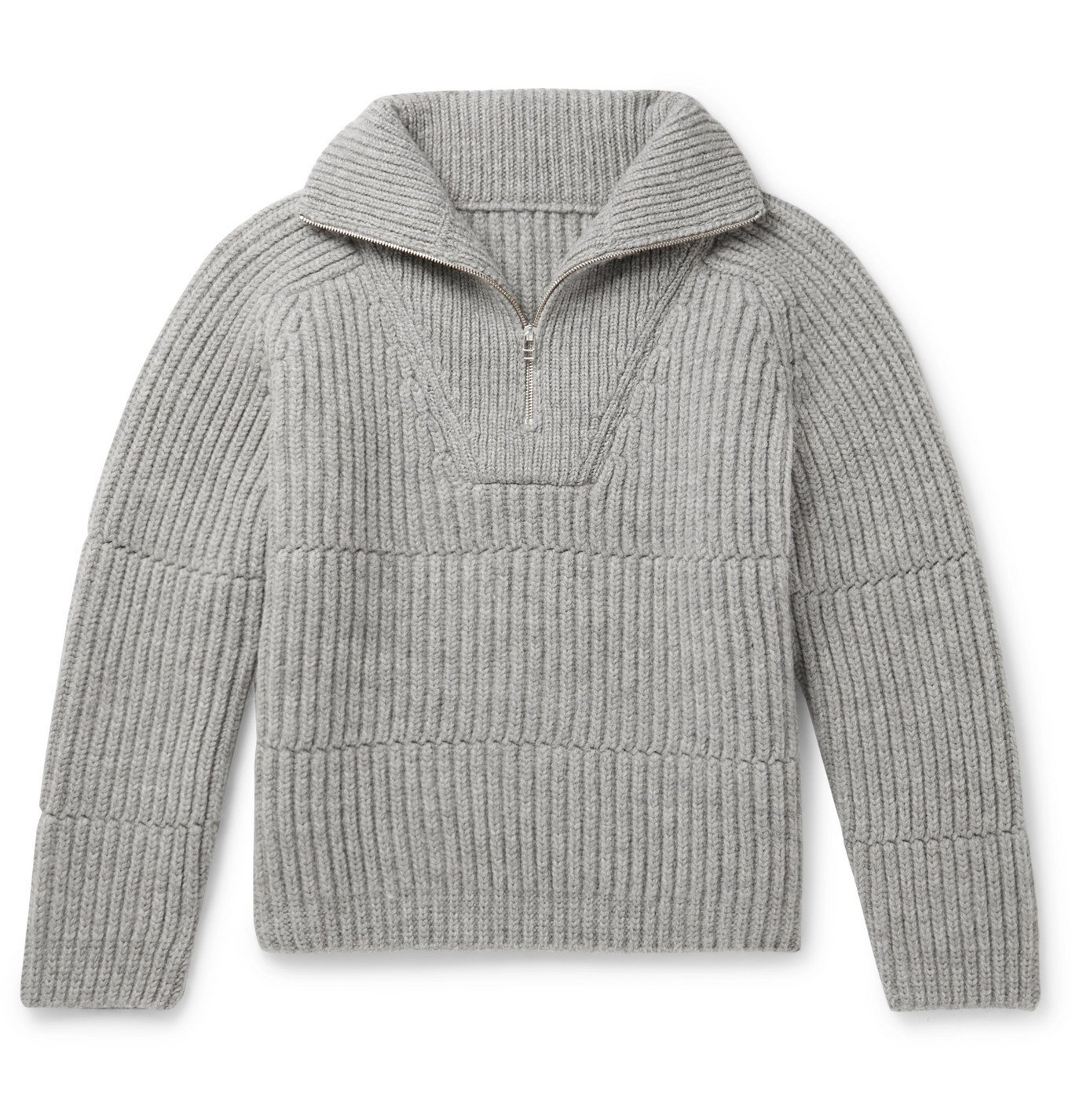 Photo: Jacquemus - La Maille Ribbed Wool-Blend Half-Zip Sweater - Gray