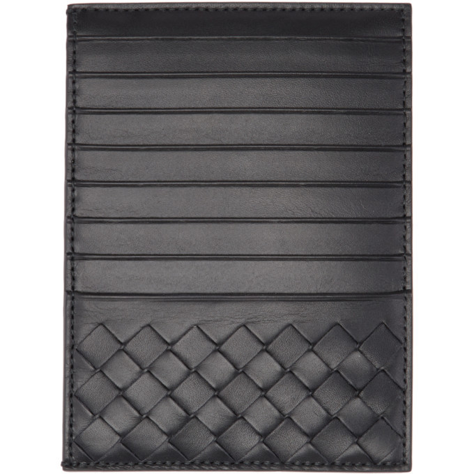 Bottega Veneta Black Multi Slot Intrecciato Card Holder