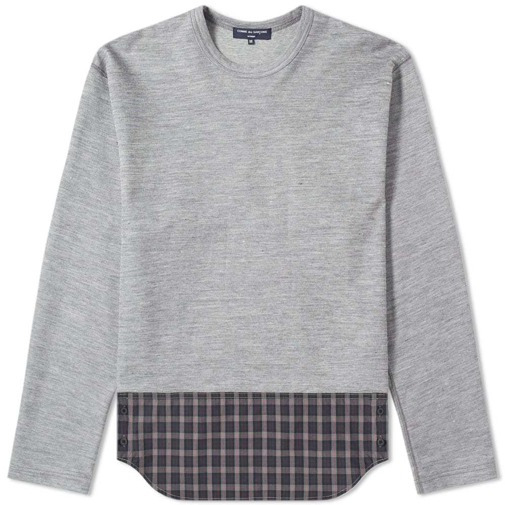 Photo: Comme des Garcons Homme Long Sleeve Logo Print Panel Tee