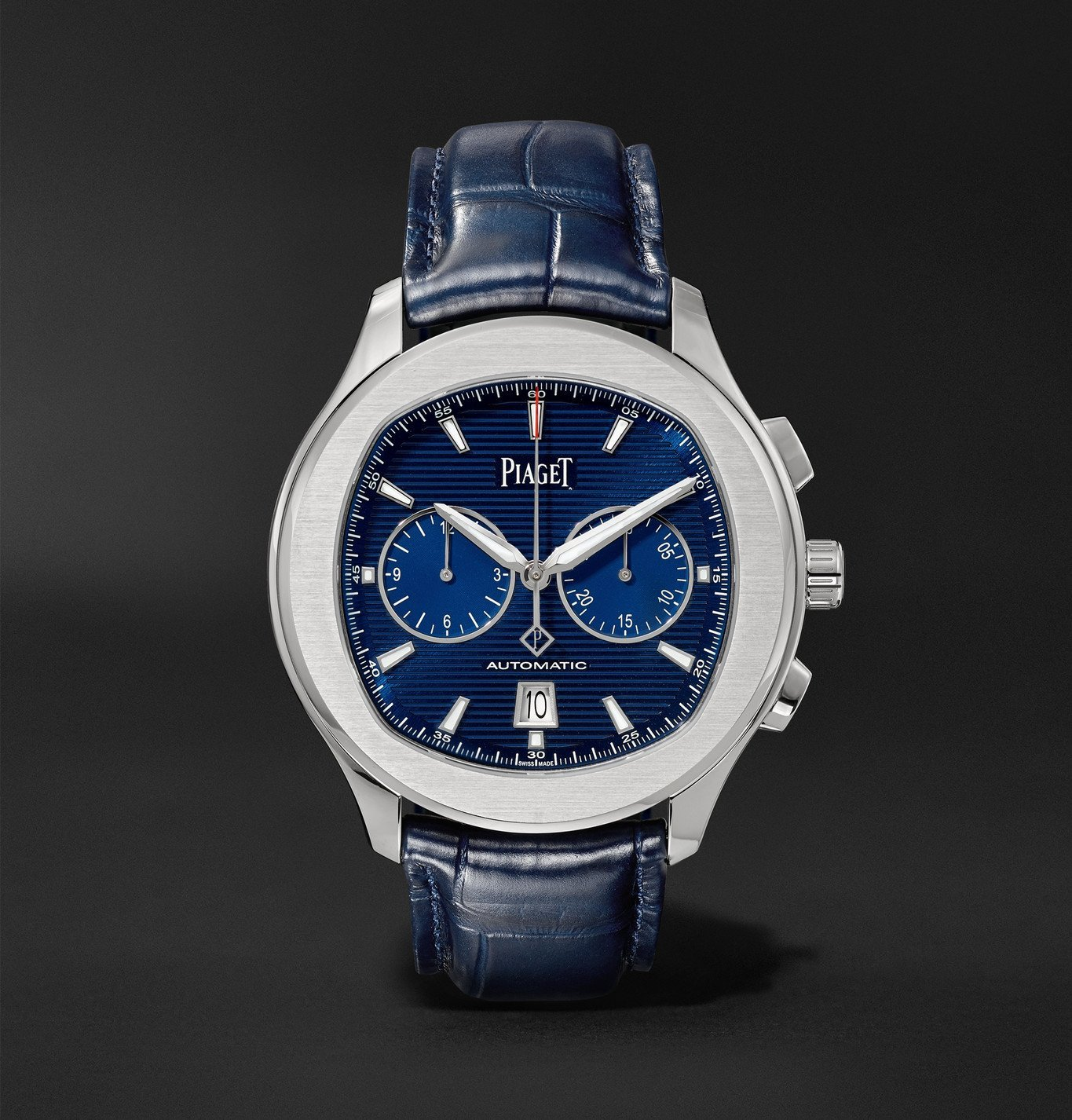 Photo: Piaget - Polo S Automatic 42mm Stainless Steel and Alligator Watch, Ref. No. G0A43002 - Blue