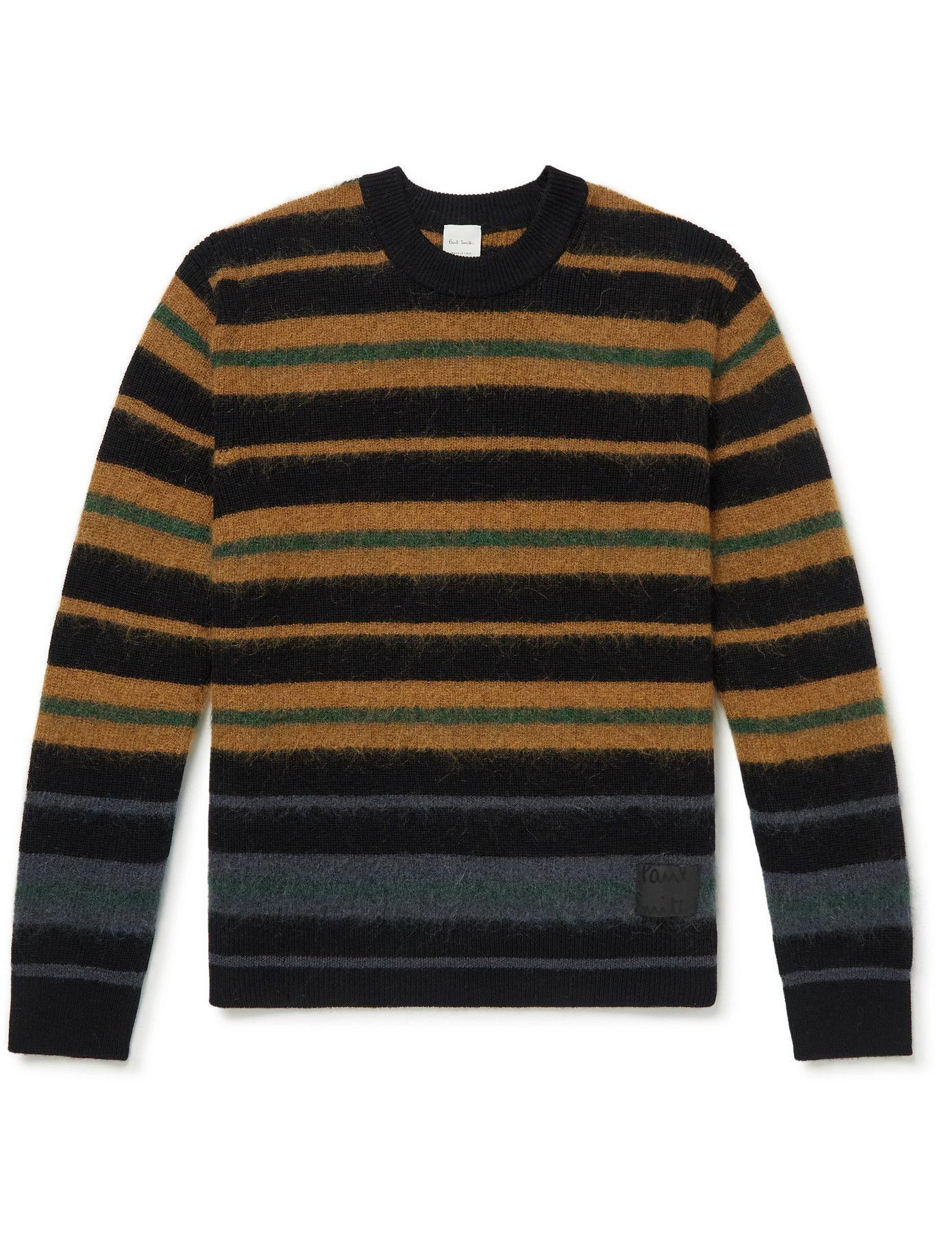 Photo: Paul Smith - Striped Virgin Wool-Blend Sweater - Black