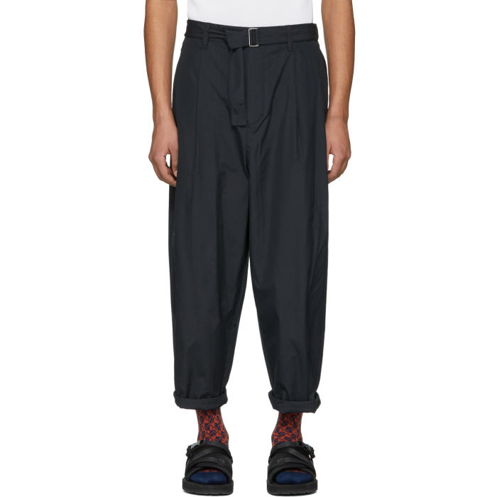 Photo: 3.1 Phillip Lim Navy Relaxed Pleated Belt Trousers