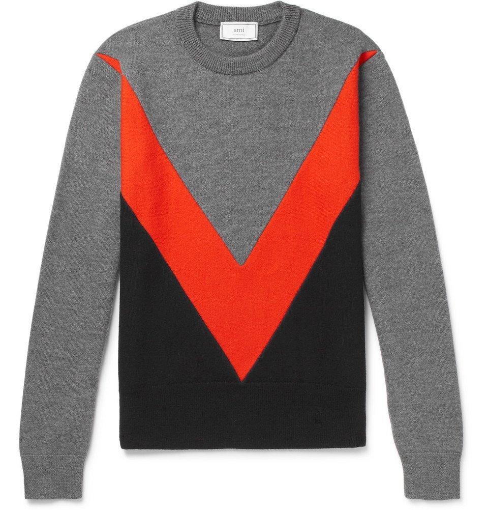 Photo: AMI - Panelled Merino Wool Sweater - Men - Gray