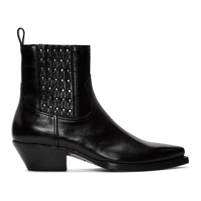 Photo: Saint Laurent Black Studs Lukas Boots
