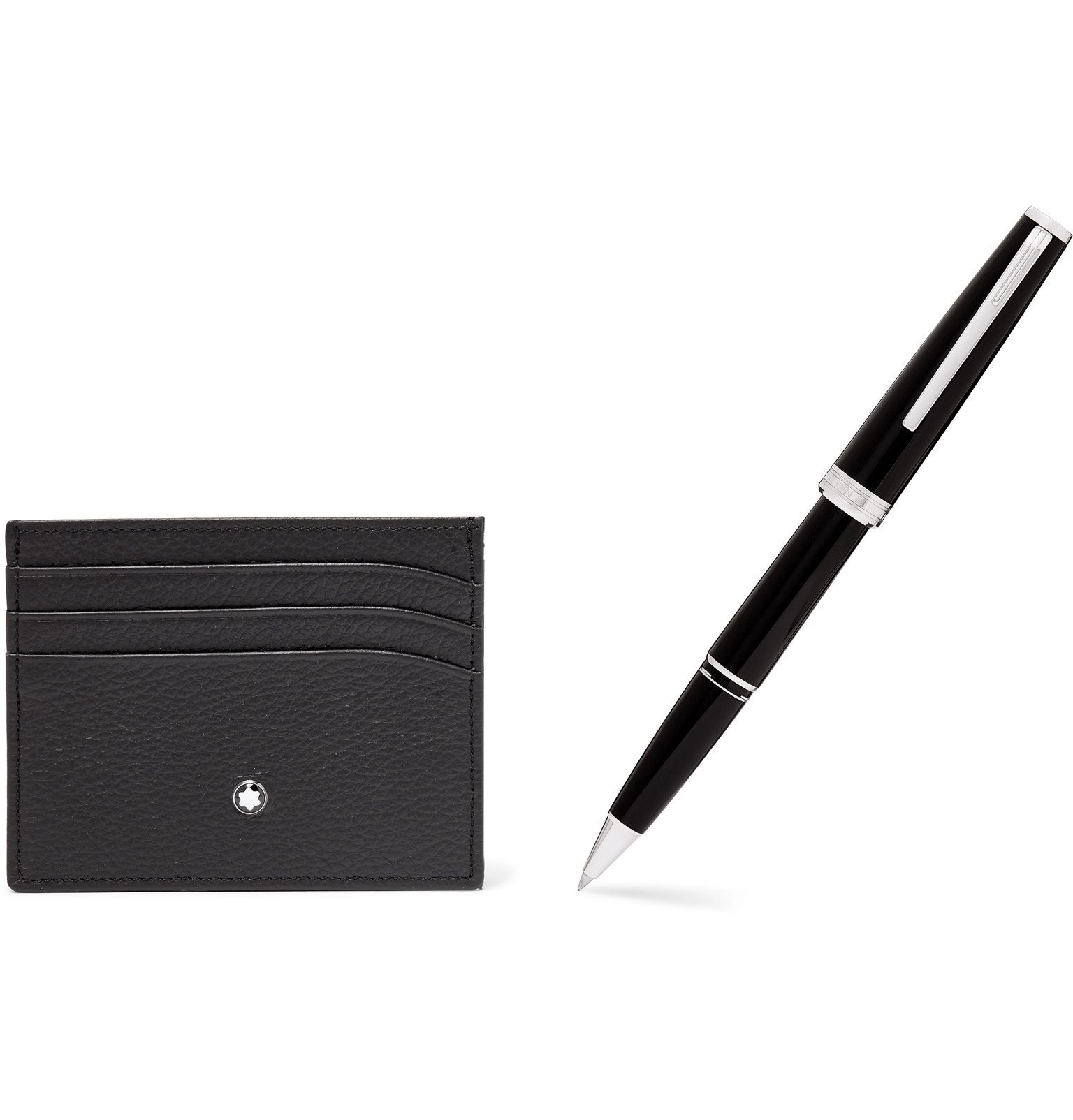 Photo: Montblanc - Meisterstück Full-Grain Leather Cardholder and Resin Ballpoint Pen Set - Black