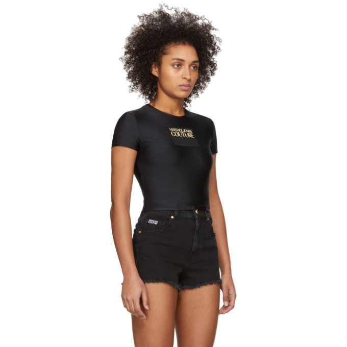 Versace Jeans Couture Black Logo Contrast Color Cropped T-Shirt