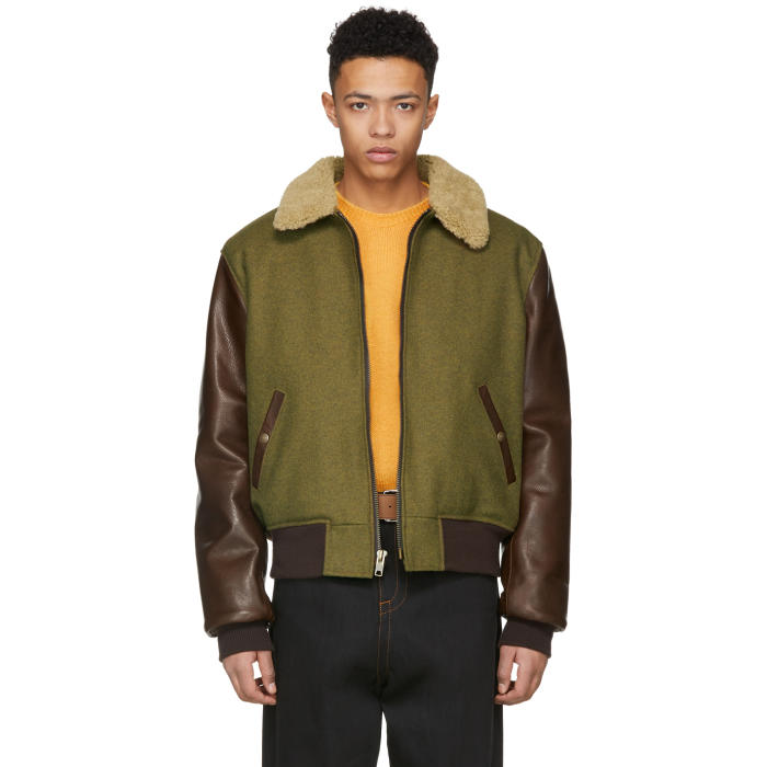 Photo: Schott Green and Brown Wool Leather Jacket